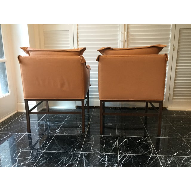 Mid-Century Modern 1990s Vintage Leather Chairs- a Pair For Sale - Image 3 of 13