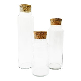 Vintage Glass Corked Jars - Set of 3