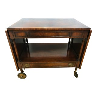 Mahogany Rolling Bar Tea Cart Credenza For Sale