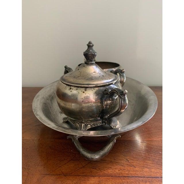 Metal Antique Silver Cream & Sugar Set- 3 Pieces For Sale - Image 7 of 11