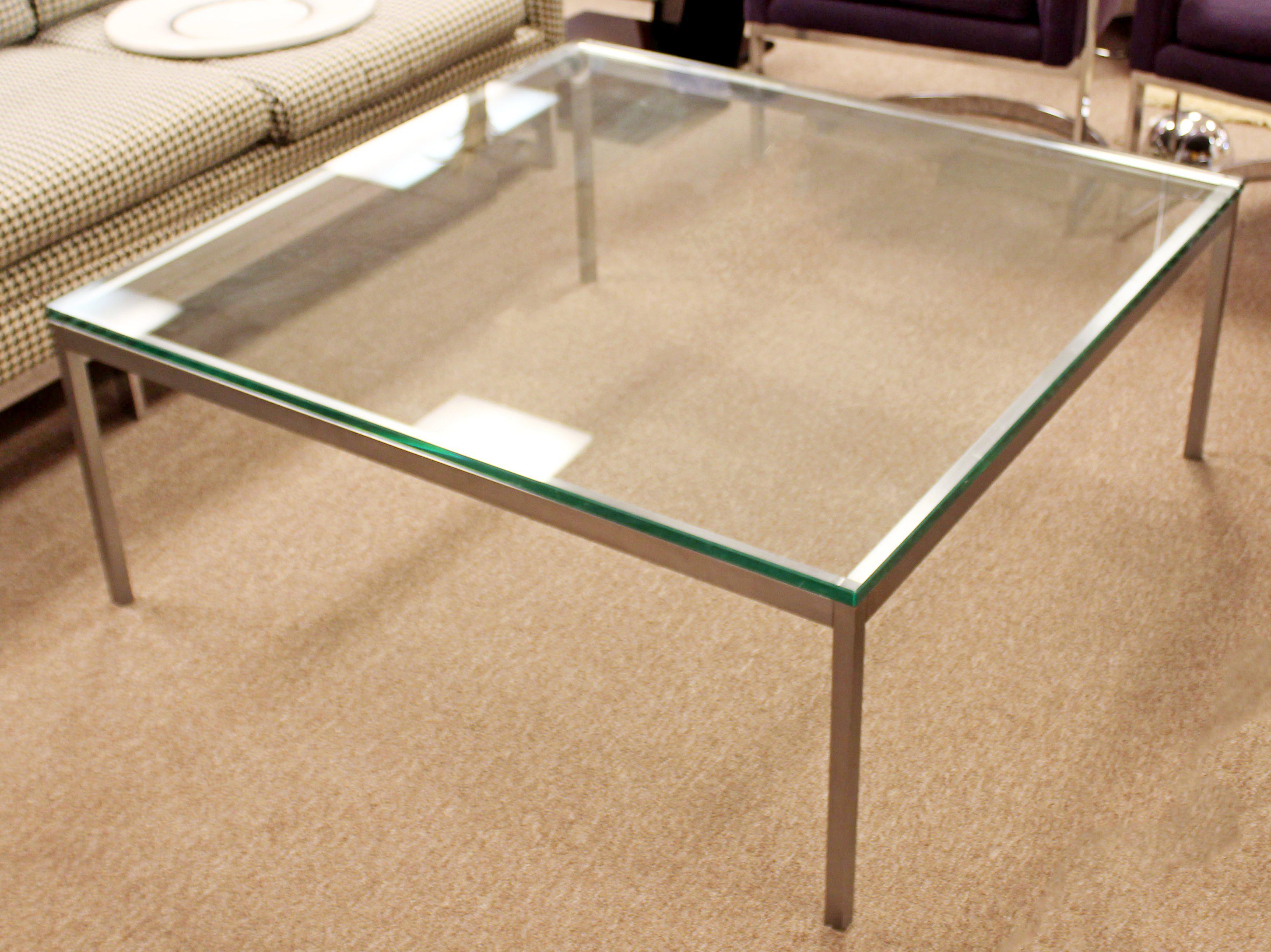 Mid Century Modern Original Vintage Large Knoll Metal Glass Square Coffee  Table   Image 8 Of