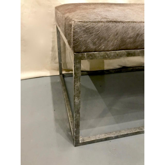 Mid-Century Modern Late 20th Century Vintage Forged Iron and Hide Bench For Sale - Image 3 of 7