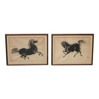 Set of Two Vintage Japanese Woodblock Horse Prints Signed For Sale