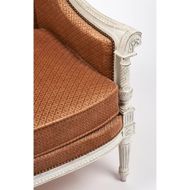 Antique French Louis XVI Style Bergere For Sale - Image 5 of 9