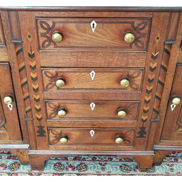 Oak 19th Century Antique Oak Inlaid Welsh/Jacobean Style Dining Room Hallway Cabinet Cupboard Hutch For Sale - Image 7 of 11