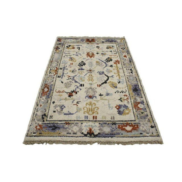 Contemporary Transitional Blue and Cream Oushak Rug with Modern Traditional Style For Sale - Image 3 of 5