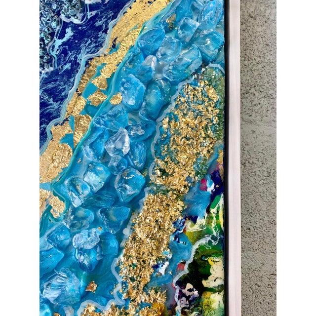 Abstract Unique Abstract Framed Oil Painting With Resin and Rock Crystal on Canvas by Franchy For Sale - Image 3 of 13
