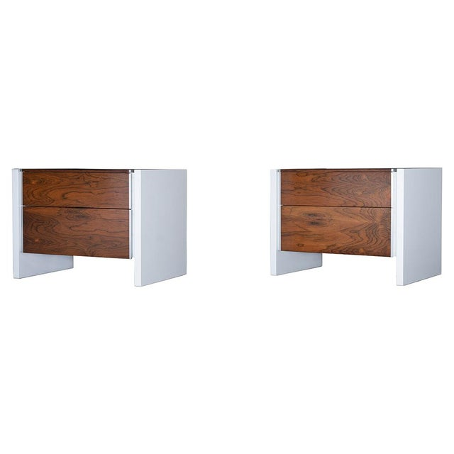 This Pair of Mid-Century Modern Glenn California Nightstands are made out of walnut and rosewood and have been completely...