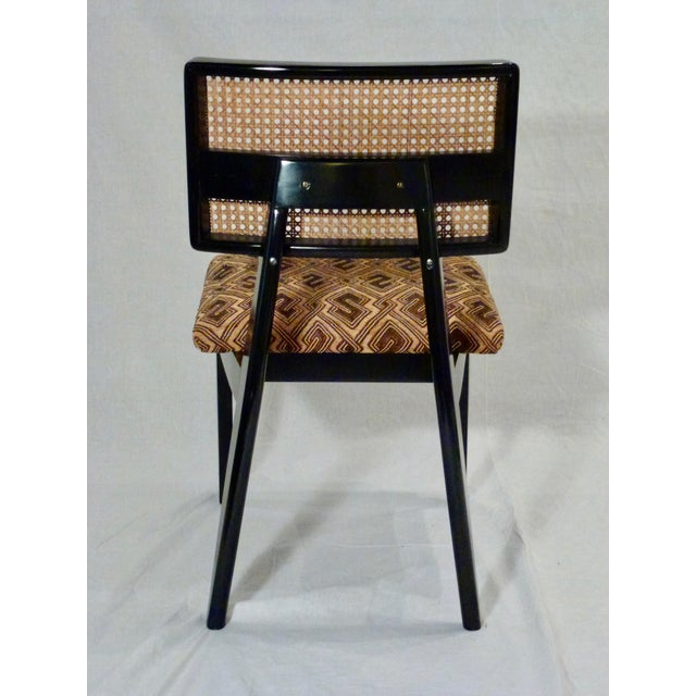 George Nelson for Herman Miller Cane Back Side Chair With Kuba Cloth Seat For Sale - Image 9 of 11