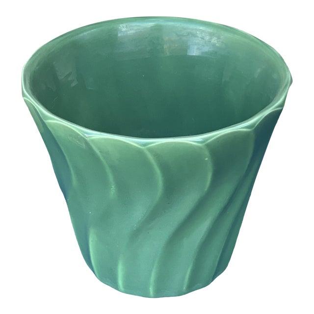 Vintage Mid Century Bauer Wavy Green Flower Pot For Sale