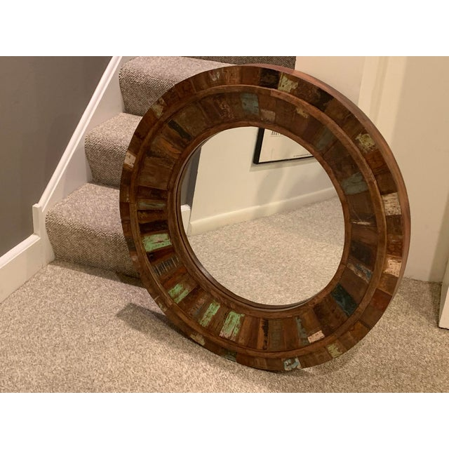 Round Mirror of Rustic Reclaimed Wood. A beautiful wall accent!