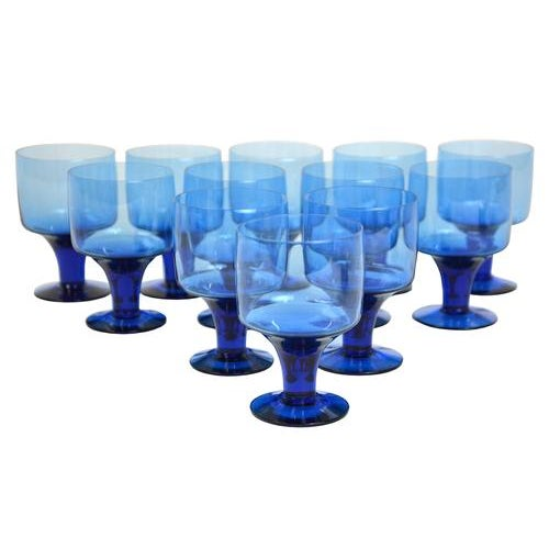 Mid-Century Petite Blue Goblets - Set of 12 - Image 1 of 2