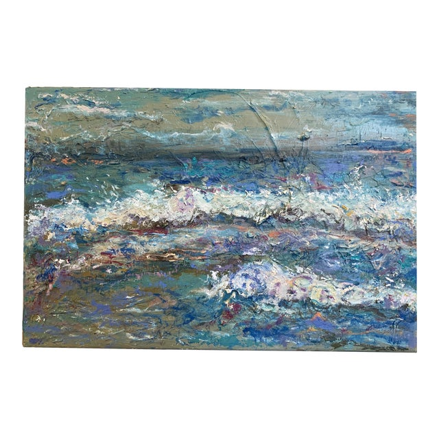 """""""Sea Me"""" Contemporary Abstract Seascape Oil Painting by Nancy T. Van Ness For Sale"""