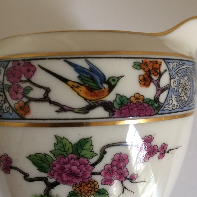 "Metal Teapot with Creamer and Sugar ""Ming"" with Bird by Lenox - Set of 3 For Sale - Image 7 of 11"