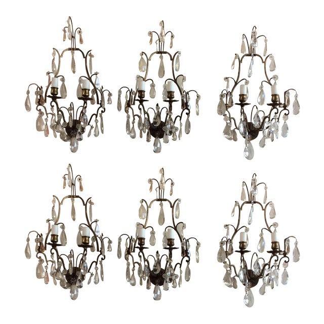 French Bronze & Crystal Wall Sconces - Set of 6 - Image 1 of 8