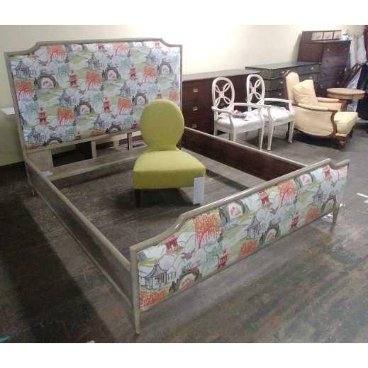 Henredon Henredon Furniture 1945 Collection Catherine Grey Makore Queen Panel Bed with Chinoiserie Fabric For Sale - Image 4 of 12
