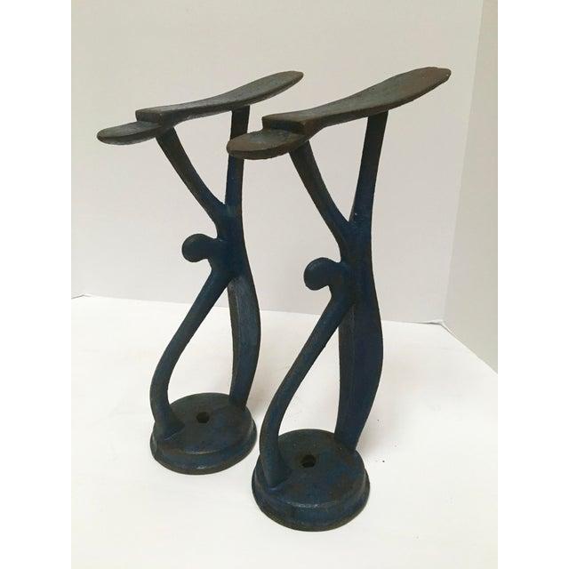 Antique Blue Cast Iron Shoe Shine Stands - A Pair - Image 2 of 8
