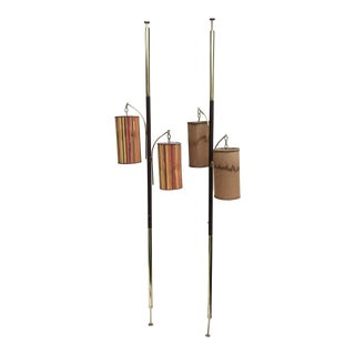 Mid-Century Tension Pole Lamps - A Pair