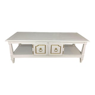 Mid-Century Coffee Table Old White Two Doors Storage For Sale