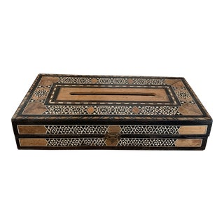 Vintage Moroccan Inlaid Wood Tissue Box For Sale
