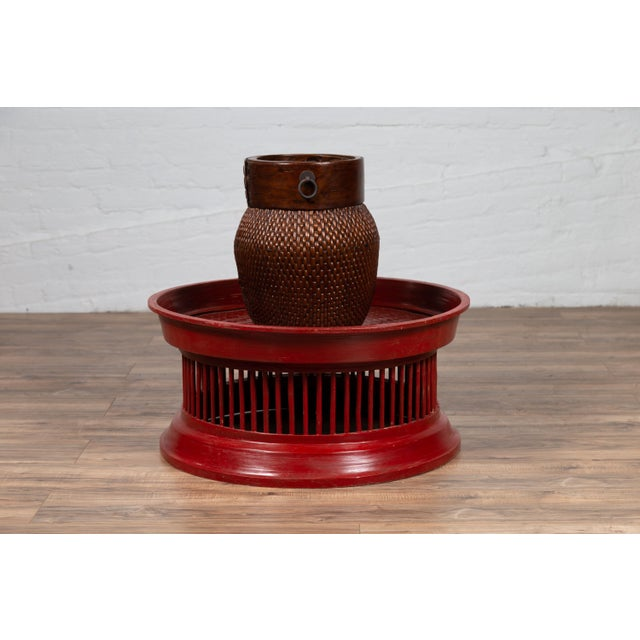 Red Contemporary Thai Red Lacquered Rattan Drum Coffee Table with Spindle Motifs For Sale - Image 8 of 10