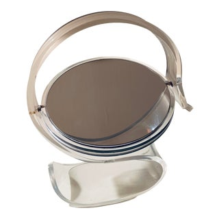 Sculptural Lucite Rialto Vanity Mirror With Label For Sale