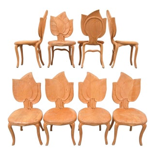 Bartolozzi & Maioli Wooden Leaf Chairs - Set of 8 For Sale