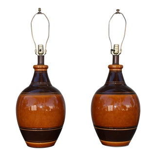 1970s Brown Ceramic Table Lamps - a Pair For Sale
