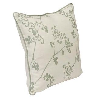 """""""Ikebana"""" Jade Hand Printed 20"""" Decorative Pillow"""
