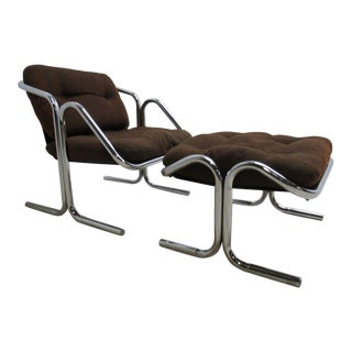 Vintage Mid-Century Modern Cantilever Chrome Sling Lounge Chair and Ottoman