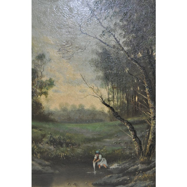 19th Century Forested Landscape Oil Painting - Image 5 of 8