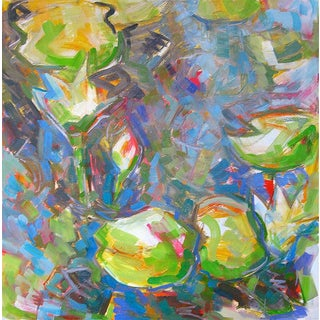 "Abstract Oil Painting by Trixie Pitts ""Water Lilies 3"" For Sale"