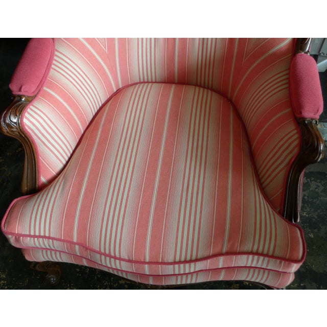 19th Century French Walnut Bergere Armchair Reupholstered With New Fabric. For Sale - Image 4 of 11