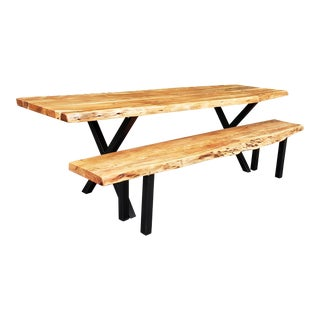 Live Edge Acacia Wood Table & Bench Set For Sale