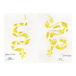 """Yellow Boa"" Glicee Prints Paintings - a Pair For Sale"