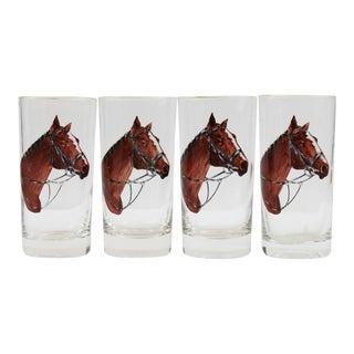 Set of 4 Hand-Painted Horsehead Highball Glasses For Sale