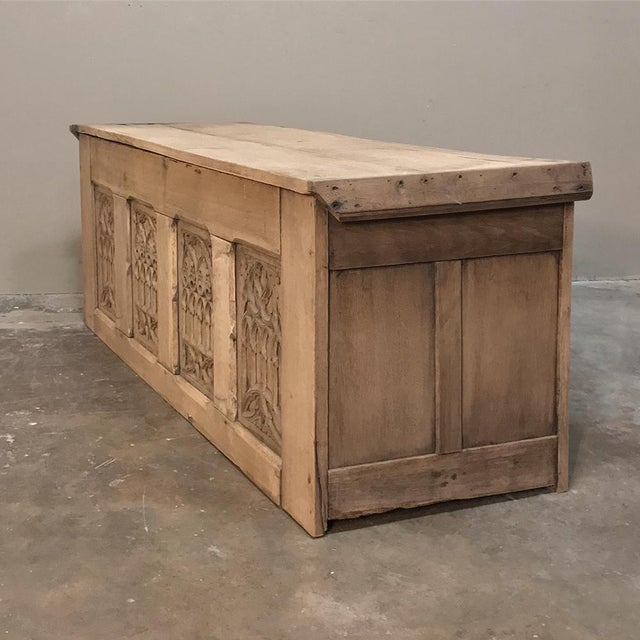 Trunk, 19th Century Rustic Gothic in Stripped Oak For Sale - Image 10 of 12