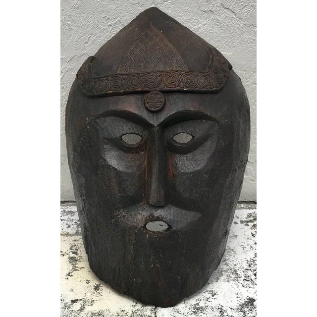 Huge Carved Mahogany Celtic Mask For Sale - Image 4 of 12