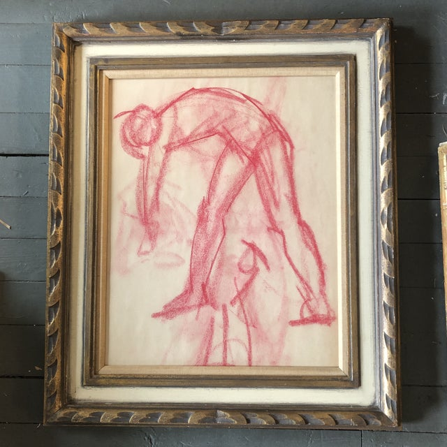 1950s Original Vintage Abstract Pink Pastel Figure Study Drawing Ornate Vintage Frame 1950's For Sale - Image 5 of 5