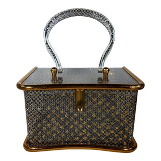 1950s Lucite Handbag With Black Lace and Gold Glitter Design For Sale