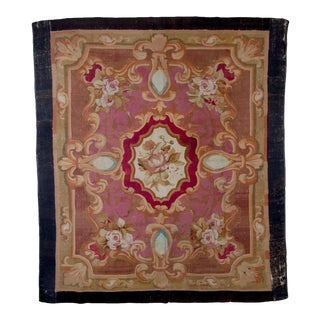 "19th Century Antique Aubusson Rug-7′2"" × 8' For Sale"