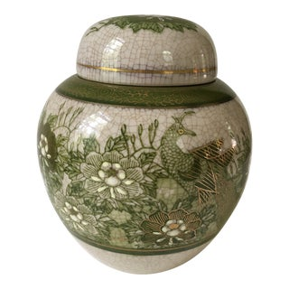 Green Crackle Glaze Lidded Ginger Jar With Peacock and Flowers For Sale