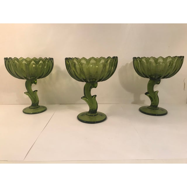 1960s Set of Three Vintage Indiana Glass Company Lotus Blossom Compote Bowls For Sale - Image 5 of 5