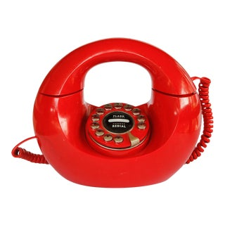 1970s Vintage Pop Art Red Poly Concept Handbag Donut Phone For Sale