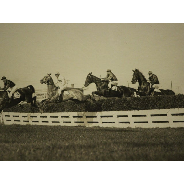 Classic B&W photo depicting the 'Henrie Memorial Steeplechase' from October 3, 1925 at Woodbine Park, Toronto, Canada