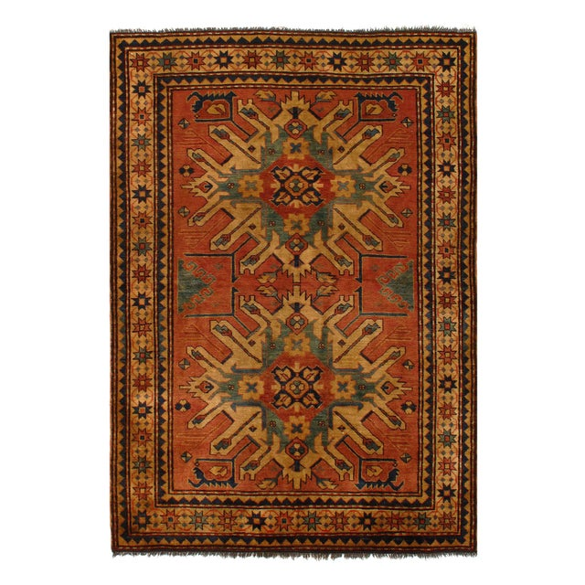 "2010s Pasargad Afghan Kazak Lamb's Wool Rug - 4'6"" X 6' For Sale - Image 5 of 5"