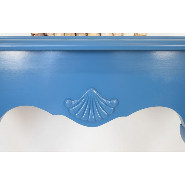 Wood Queen Anne Half-Moon Shape Blue Console Table For Sale - Image 7 of 9