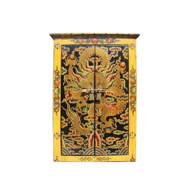 Chinese Tibetan Dragon Slim Multi Drawer Cabinet - Image 4 of 6