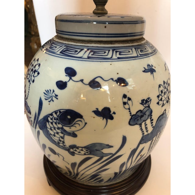 Classic Blue and White Canton Style Ginger Jar Lamps With Carp-A Pair For Sale In Philadelphia - Image 6 of 11