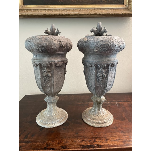 Antique French 19th Century Circa 1880s Renaissance Revival Pair of Rococo Garden Vase Planters. Neoclassical theme with...